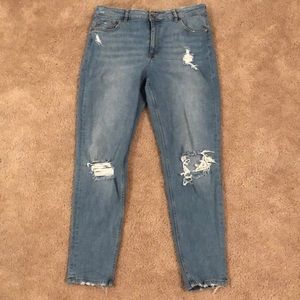 Distressed + ripped H&M light wash jeans